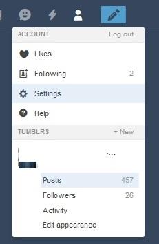 delete Tumblr blog settings