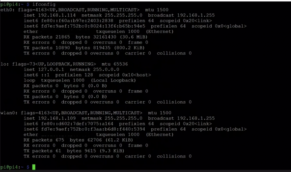 raspberry pi configure ip address